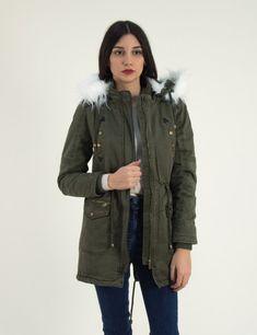 Γυναικείο χακί παρκά μπουφάν με γούνα D179C  #mpoyfan #gunaikeio #parka #torouxo #online Parka, Military Jacket, Jackets, Fashion, Down Jackets, Moda, Field Jacket, Fashion Styles, Military Jackets