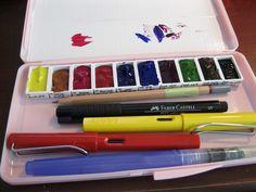 My newest DIY travel watercolor box :)