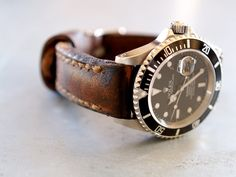 """arrillo serie"" handmade leather watch strap by gunny straps on a rolex watch"