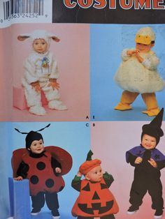 Duck Lamb Ladybug Pumpkin Witch Toddler Costumes and Hats Halloween Simplicity 0638 Unisex Sewing Pattern Toddler Sz. 1/2 - 4 Toddler Costumes, Cute Costumes, Halloween Costumes, Halloween Patterns, Costume Patterns, Sewing Patterns For Kids, Vintage Sewing Patterns, Lamb Costume, Raggedy Ann And Andy