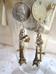 vintage repurposed jewelry coin earring repurposed cross crucifix assemblage jewelry french atelier paris gift woman