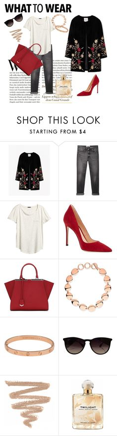 """""""Untitled #55"""" by josefinai ❤ liked on Polyvore featuring mode, MANGO, Golden Goose, H&M, Gianvito Rossi, Fendi, Links of London, Cartier, Ray-Ban et Sarah Jessica Parker"""