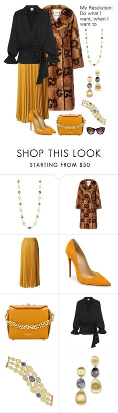"""""""#PolyPresents: New Year's Resolutions"""" by karen-galves ❤ liked on Polyvore featuring Marco Bicego, Gucci, Chicwish, Christian Louboutin, Alexander McQueen, Iris & Ink, Thierry Lasry, contestentry and polyPresents"""