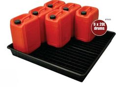 9x 20L/100L Oil Chemical Bunded Drip Sump Spill Pallet Tray Removable base grid   eBay