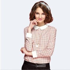 2017 Europe and the United States foreign trade women's large women's lapel lapel long-sleeved lace bottoming shirt blasting chiffon shirt