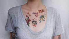 vintage flowers floral tattoo by pepperink