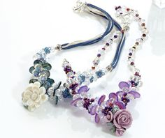 Made with crystals and coloured shell beads