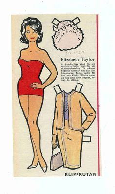 Elizabeth Taylor paper doll Paper Toys, Paper Crafts, Paper Dolls Printable, Vintage Paper Dolls, Heart For Kids, Doll Hair, Vintage Labels, Free Paper, Doll Toys