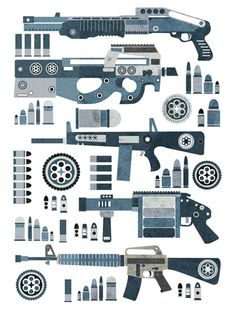 Guns Pattern - Designed and Illustrated by Jonny Wan