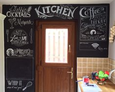 Chalkboard style lettering done in friends kitchen. Inspiration and ideas taken from across Pinterest.  Real talking point for parties and the WiFi password part works a treat! Blank section for kids (and adults) to draw in and create menus.