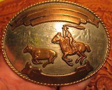 1977 1978 OLD COMSTOCK Calf Roping 4 Banner German Silver Belt Buckle MAKE OFFER $225.00 or Best Offer Free shippingItem image