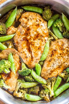 Balsamic Chicken and Vegetables. One-Skillet Balsamic Chicken & Vegetables - A tangy-sweet balsamic glaze coats juicy chicken & veggies! Healthy easy & ready in 15 mins! Clean Eating, Healthy Eating, Chicken And Vegetables, Veggies, Chicken Broccoli, Balsamic Chicken Recipes, Cooking Recipes, Healthy Recipes, Protein Recipes