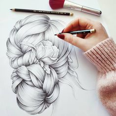 Happy weekend for all! 😄 New Hair Inspiration 🌸💮🌺 Pencil Sketch Drawing, Pencil Art Drawings, Cool Art Drawings, Art Drawings Sketches, Kristina Webb Art, 7th Grade Art, Happy Weekend, Happy Tuesday, Hair Illustration