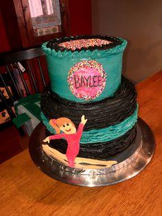 Gymnastics and ruffles birthday cake