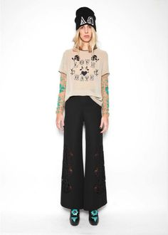 Love top and laser cut trousers