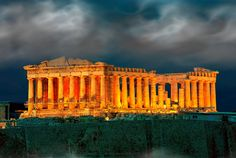 Parthenon at night on Acropolis at Athens Greece. Free art print of Athens Acropolis Parthenon. Vatican Rome, Kusadasi, Ancient Ruins, Ancient Greece, Ancient Mysteries, World's Most Beautiful, Beautiful Places, Places To Travel, Places To See