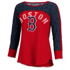 Boston Red Sox Ladies Play Off 3/4 Tee - Redmade by Touch - by Alyssa Milano.100% cotton textured jersey, 100% cotton crochet lace yokes and sleeves. Scoop n