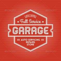 Garage Label #GraphicRiver Retro Poster or Emblem for Garage Auto Servicing This may used as Poster, Emblem, Label, Banner…. Files in Pack: Vector Eps 8 – Fully scalable. Font is not editable. You can easy change
