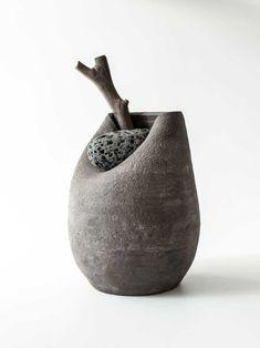 martin azua warped ceramic vase with stone