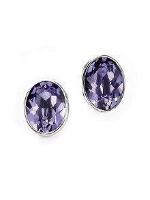 Tanzanite swarovski oval stud earrings