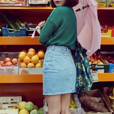 AA denim skirt.