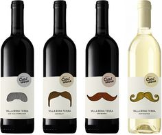 The more bourgeoise the mustache, the more expensive the wine. Packaging work by Pia Storm and Rine Boland Folden. Wine Label Design, Bottle Design, Wine Bottle Labels, Wine Bottles, Party Decoration, Bottle Packaging, In Vino Veritas, Custom Labels, Sangria