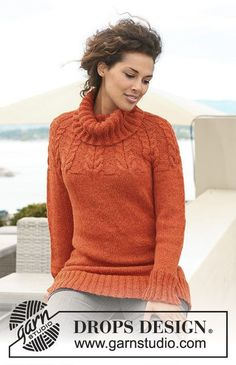 """Knitting Patterns Jumper Ravelry: Knitted jumper with raglan sleeves and cables in """"Nepal"""" pattern by DROPS design . Sweater Knitting Patterns, Knit Patterns, Free Knitting, Finger Knitting, Drops Design, Raglan Pullover, Drops Patterns, Crochet Clothes, Knit Crochet"""