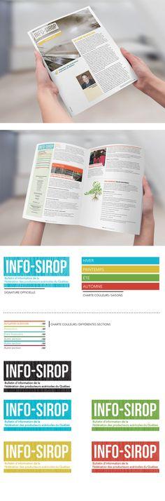 Design graphique de la maquette et nouvelle signature du journal Info-Sirop de la Fédération des producteurs acéricoles du Québec.