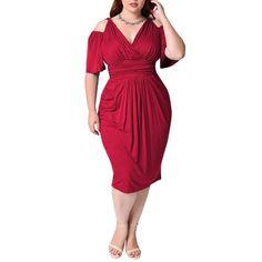 fec80cc0165 Luxspire Women s Plus Size V-Neck Short Sleeve Wasp-Waisted Dress  fashion