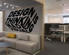 Office Wall Graphics, Office Wall Decals, Office Mural, Office Walls, Office Wall Design, Design Studio Office, Office Interior Design, Office Interiors, Small Office Design