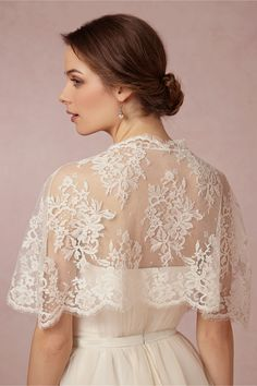 Elle & Jae exclusively for BHLDN -Chantilly Capelet in Shoes & Accessories Cover Ups at BHLDN - ivory lace bridal bolero cape cover up