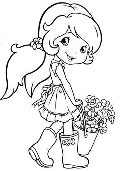 Strawberry Shortcake Coloring Page Inspirational Strawberry Shortcake Gardening Kolorowanki Princess Coloring Pages, Cute Coloring Pages, Disney Coloring Pages, Coloring Books, Coloring Sheets For Kids, Coloring Pages For Girls, Strawberry Shortcake Coloring Pages, Mandala, Coloring Pages Inspirational
