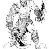Desenho De Kratos E Suas Armas Para Colorir Desenhos