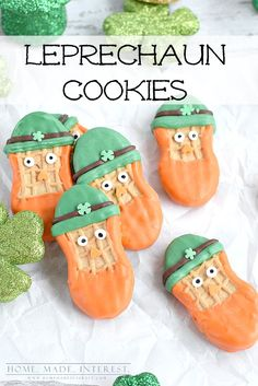 These leprechaun cookies are a fun and easy St. Patrick's day treat for St. patrick's day parties or just a treat for the kids.