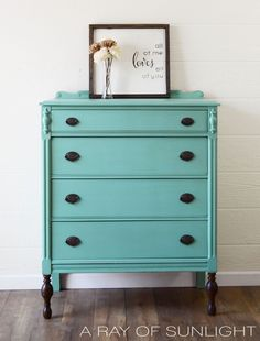 Painted Dresser. Blue Painted Dresser.