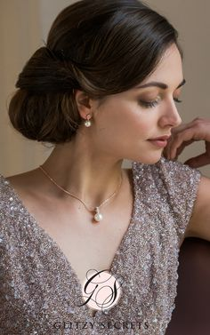 The perfect bridal jewellery set - Elegance in Rose Gold Pendant and Earrings by Glitzy Secrets