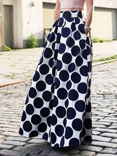White Contrast Polka Dot Print Maxi Skirt | Choies