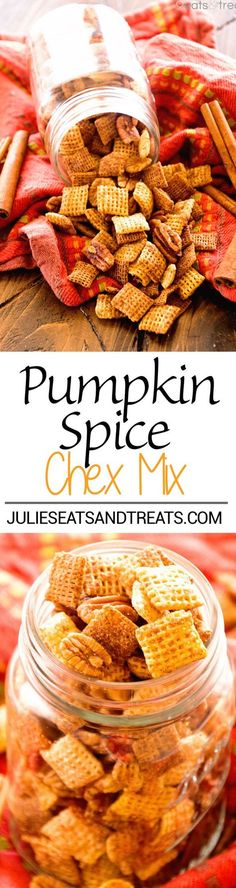 Pumpkin Chex Mix™ Recipe ~ Butter, Brown Sugar and Spice Make a Quick, Easy Sweet and Crunchy Chex Mix! Plus Make it in Your Microwave! @ChexCereal #spon: www.julieseatsand...