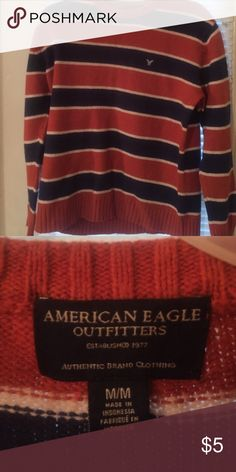 Mens medium sweater Navy and orange striped sweater- Mens- repost my son didn't like my choice 😥 American Eagle Outfitters Sweaters Crewneck