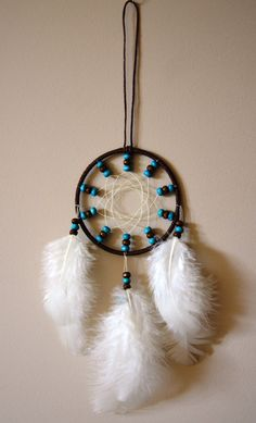 Brown Dream Catcher With Wood beads. Car by DreamySummerNights, $5.00