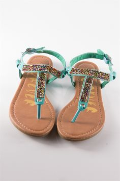 Need these for summer! LOVE THEM! Jeweled Thong Sandals - Blue from Casual & Day at Lucky 21 Lucky 21