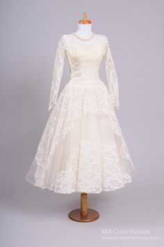 Vintage Tea Length 1950s Wedding Dress with long sleeves from Mill Crest Vintage