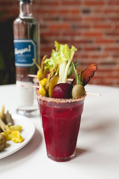 Turn Up the Beet Bloody Mary // adding beets to the traditional bloody mary gives it a lighter earthier taste. yum! #Hangar1Vodka