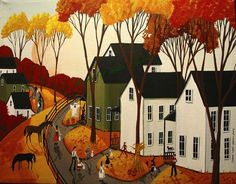 Original+Folk+Art+Paintings | Original Painting Folk ART Landscape Halloween Witch Devil Black CAT ...