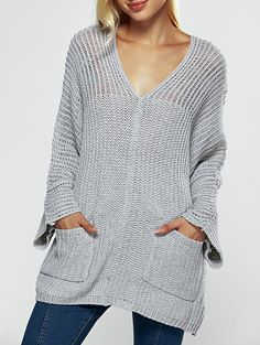 Chunky V Neck Pullover Sweater