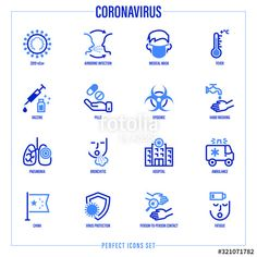 Coronavirus thin line icons set. Virus, airborne infection, medical mask, fever, vaccine, hand washing, bacteria under magnifier, pneumonia, inflammation in lungs, person to person Vector illustration , #affiliate, #infection, #airborne, #medical, #fever, #mask #Ad Icon Design, Logo Design, Mask Drawing, Simple Borders, Medical Icon, Thin Line, Line Icon, Hand Washing, Icon Set