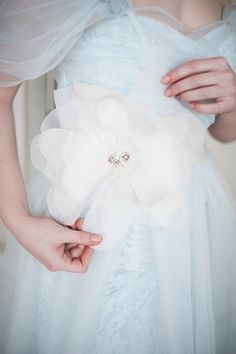 Nymph — Wedding Outlet — Ice blue bridal gown & White by Vera Wang belt