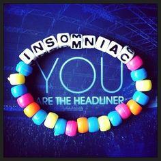 Insomniac #kandi Kandi Patterns, Beading Patterns, Rave Bracelets, Trendy Bracelets, Beaded Bracelets, Raves, Music Festival Outfits, Music Festivals, Rave Gear