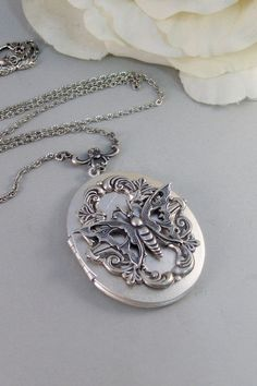 Bella's Wings,Necklace,Locket,Butterfly,Silver Locket,Butterfly Locket,Steampunk,Steampunk Locket. Jewelry by valleygirldesigns on Etsy.
