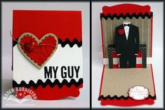 My Guy Pop-up Card using Stampin' Up! Pop 'n Cuts dies and *free* Tuxedo template from karenburniston.com